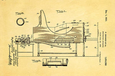 Doctors Photograph - Drinker Iron Lung Patent Art 1931 by Ian Monk