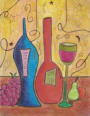 Glass Bottle Drawing - Drinking Alone by Ray Ratzlaff