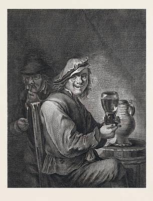 Drinking And Smoking, Man, Glas, Jug, Pipe, Pipe, Barrel Art Print