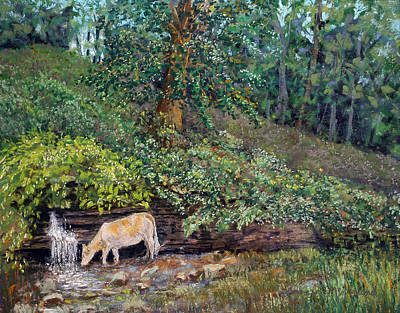 Pastel - Drinking At Spout Spring by Lorraine McFarland