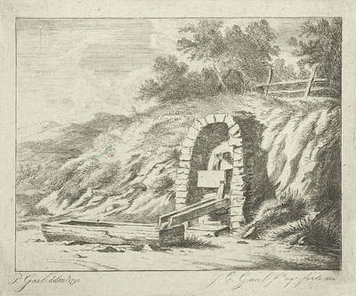 Wooden Bowls Drawing - Drinking Bowl With Water Through Wooden Pipes From Rock by Jacobus Cornelis Gaal