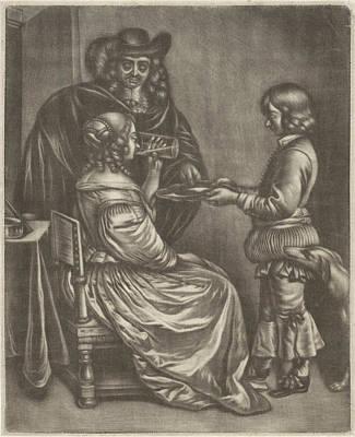 Somer Drawing - Drinking Lady, Jan Van Somer, Gerard Ter Borch II by Jan Van Somer And Gerard Ter Borch (ii)