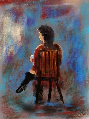 Painting - Drinking Woman by Miroslaw  Chelchowski