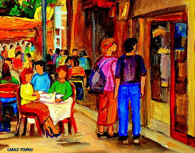 Painting - Drinks On The Terrace Cafe Scene St. Denis Street Bistro Montreal Summer Art By Carole Spandau by Carole Spandau