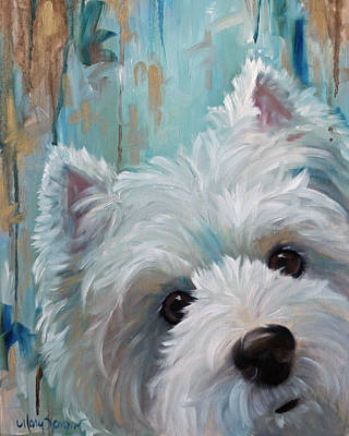 Westie Dog Painting - Drip by Mary Sparrow