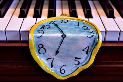 Dripping Clock On Piano Keys Art Print by Garry Gay