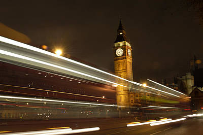 Night Scene Photograph - Drive By Ben - England by Mike McGlothlen