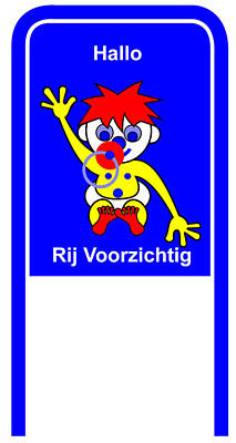 Digital Art - Drive Carefully Campaign Sign In Dutch Hallo Ruij Voorzichtig by Asbjorn Lonvig