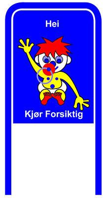 Digital Art - Drive Carefully Campaign Sign In Norwegean Hei Kjoer Forsiktig by Asbjorn Lonvig