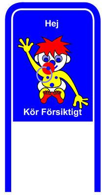 Digital Art - Drive Carefully Campaign Sign In Swedish Hej Koer Foersiktigt by Asbjorn Lonvig