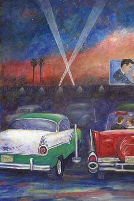 Drive-in Movie Part One Print by Linda Mears