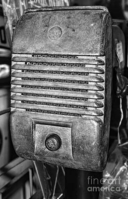 Outdoor Theater Photograph - Drive In Movie Speaker In Black And White by Paul Ward