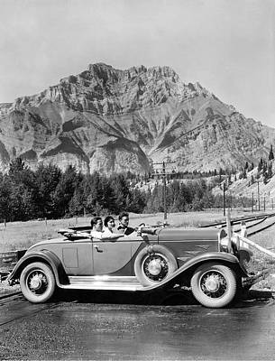 Banff Canada Photograph - Drive In The Canadian Rockies by Underwood Archives
