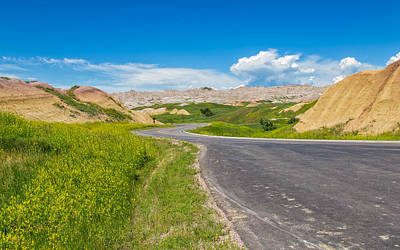 Photograph - Drive Through The Yellow Mounds Of The Badlands by John M Bailey
