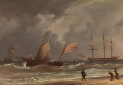 Ashore Painting - Driving Ashore In A Gale by Mountain Dreams