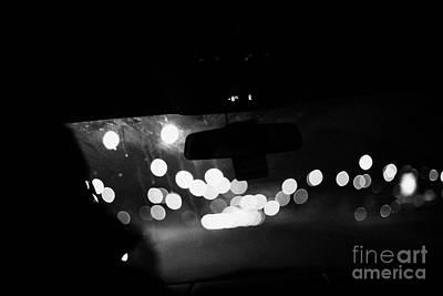 Driving Car Approaching City At Cold Winter Night Saskatoon Saskatchewan Canada Art Print