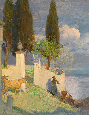 Lake Como Painting - Driving Cattle Lake Como by Joseph Walter West