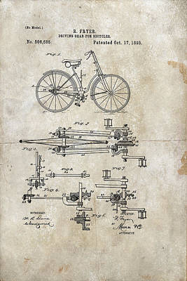 Digital Art - Driving Gear For Bicycles Patent 1893 by Paulette B Wright