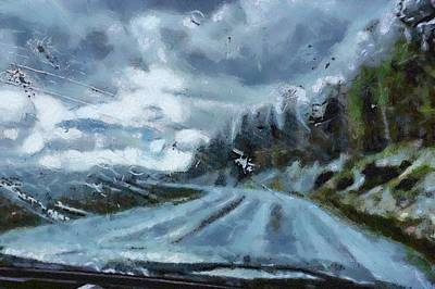 Digital Art - Driving In An Ice Storm by Carrie OBrien Sibley