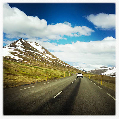 Driving In Iceland - Road And Mountain Landscape Art Print