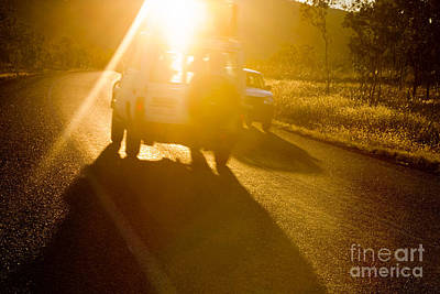 Driving Into The Sun Art Print by Colin and Linda McKie