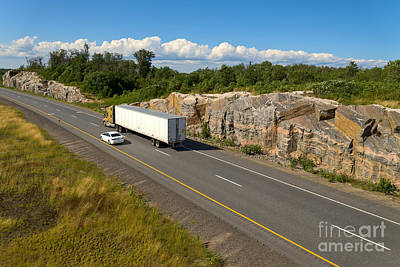Truck Photograph - Driving North Through Canadian Shield by Les Palenik