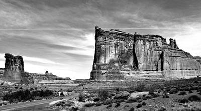 Photograph - Driving Through Arches Black And White by Benjamin Yeager
