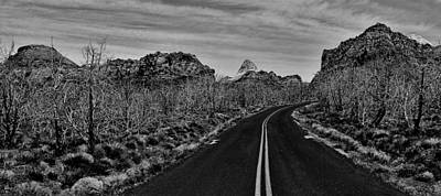 Photograph - Driving Through Zion Black And White by Benjamin Yeager