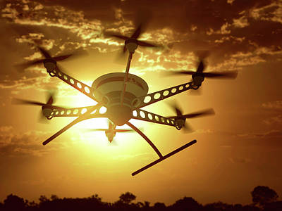 Digitally Generated Image Photograph - Drone Flying In The Sky At Sunset by Ktsdesign