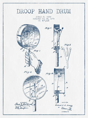 Drummer Drawing - Droop Hand  Drum Patent Drawing From 1892 - Blue Ink by Aged Pixel