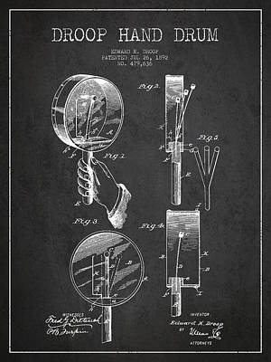 Folk Art Digital Art - Droop Hand  Drum Patent Drawing From 1892 - Dark by Aged Pixel