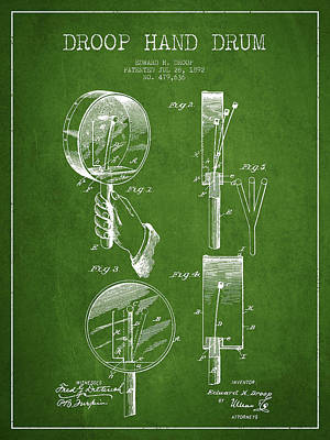 Folk Art Digital Art - Droop Hand  Drum Patent Drawing From 1892 - Green by Aged Pixel