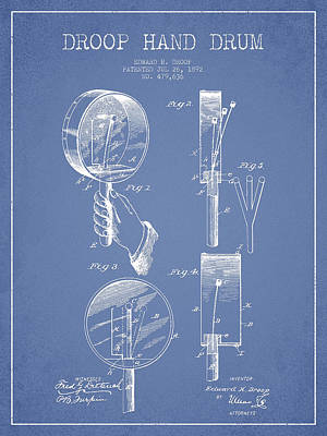 Folk Art Digital Art - Droop Hand  Drum Patent Drawing From 1892 - Light Blue by Aged Pixel