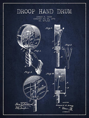 Folk Art Digital Art - Droop Hand  Drum Patent Drawing From 1892 - Navy Blue by Aged Pixel