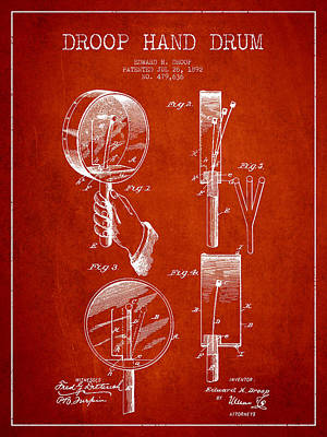 Folk Art Digital Art - Droop Hand  Drum Patent Drawing From 1892 - Red by Aged Pixel