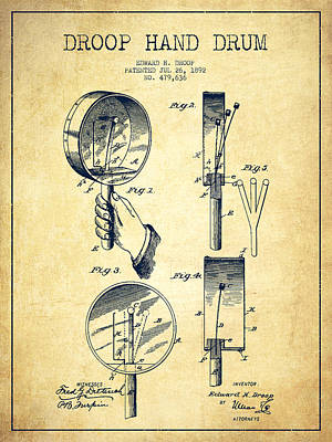 Folk Art Digital Art - Droop Hand  Drum Patent Drawing From 1892 - Vintage by Aged Pixel