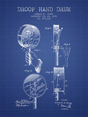 Drummer Drawing - Droop Hand  Drum Patent From 1892  - Blueprint by Aged Pixel