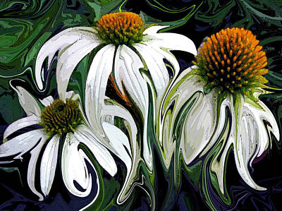 Abstracted Coneflowers Painting - Droopy Daisies by Suzy Freeborg