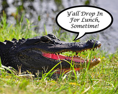 Alligator Digital Art - Drop In For Lunch Greeting Card by Al Powell Photography USA