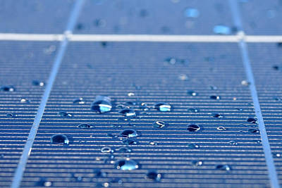 Drops Of Water On Solar Panel Art Print