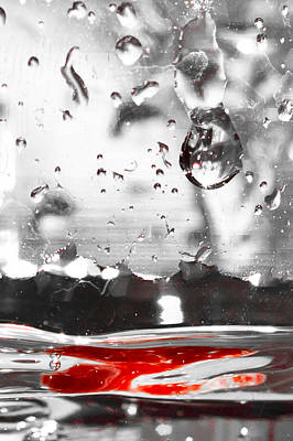 Photograph - Drops Of Water With Red by Anthony Doudt
