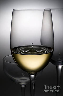 Food And Beverage Royalty-Free and Rights-Managed Images - Drops Of Wine In Wine Glasses by Setsiri Silapasuwanchai