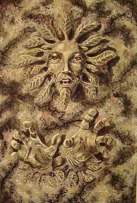 Greenman Painting - Druid Spirit by James Crafford