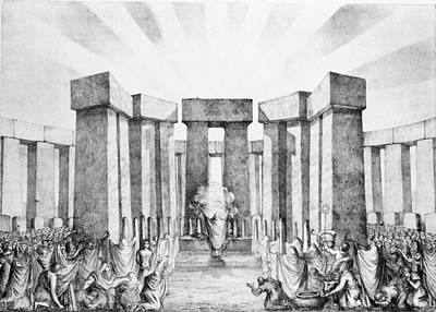 Trumpet Drawing - Druids Sacrificing To The Sun by Nathaniel Whittock
