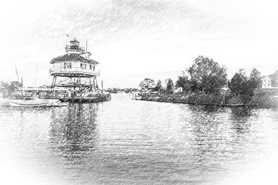 Drum Poiint Lighthouse Pencil Sketch Art Print