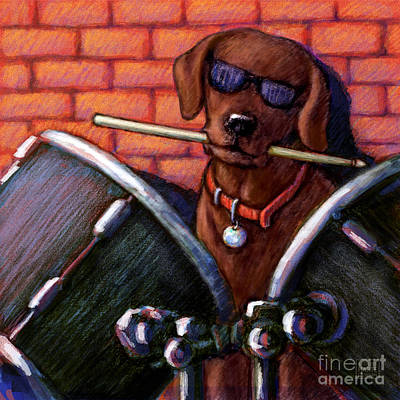 Chocolate Labrador Retriever Mixed Media - Drum Roll - Chocolate by Kathleen Harte Gilsenan