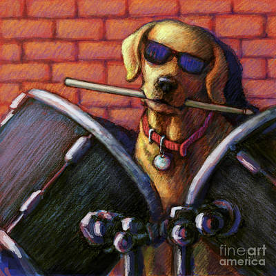 Drummer Mixed Media - Drum Roll - Yellow by Kathleen Harte Gilsenan