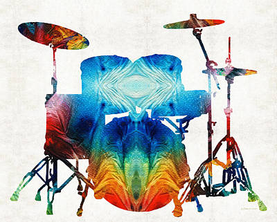 Drummer Painting - Drum Set Art - Color Fusion Drums - By Sharon Cummings by Sharon Cummings