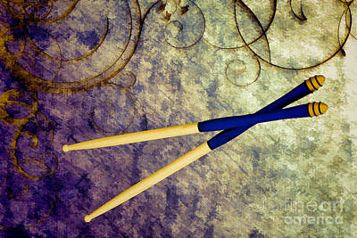 Drum Sticks For Jazz Set Drums Painting Color 3245.02 Art Print by M K  Miller