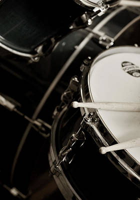 Photograph - Drum Sticks With Snare Drum Sepia by Rebecca Brittain